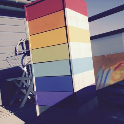 Meuble 8 tiroirs multicolore